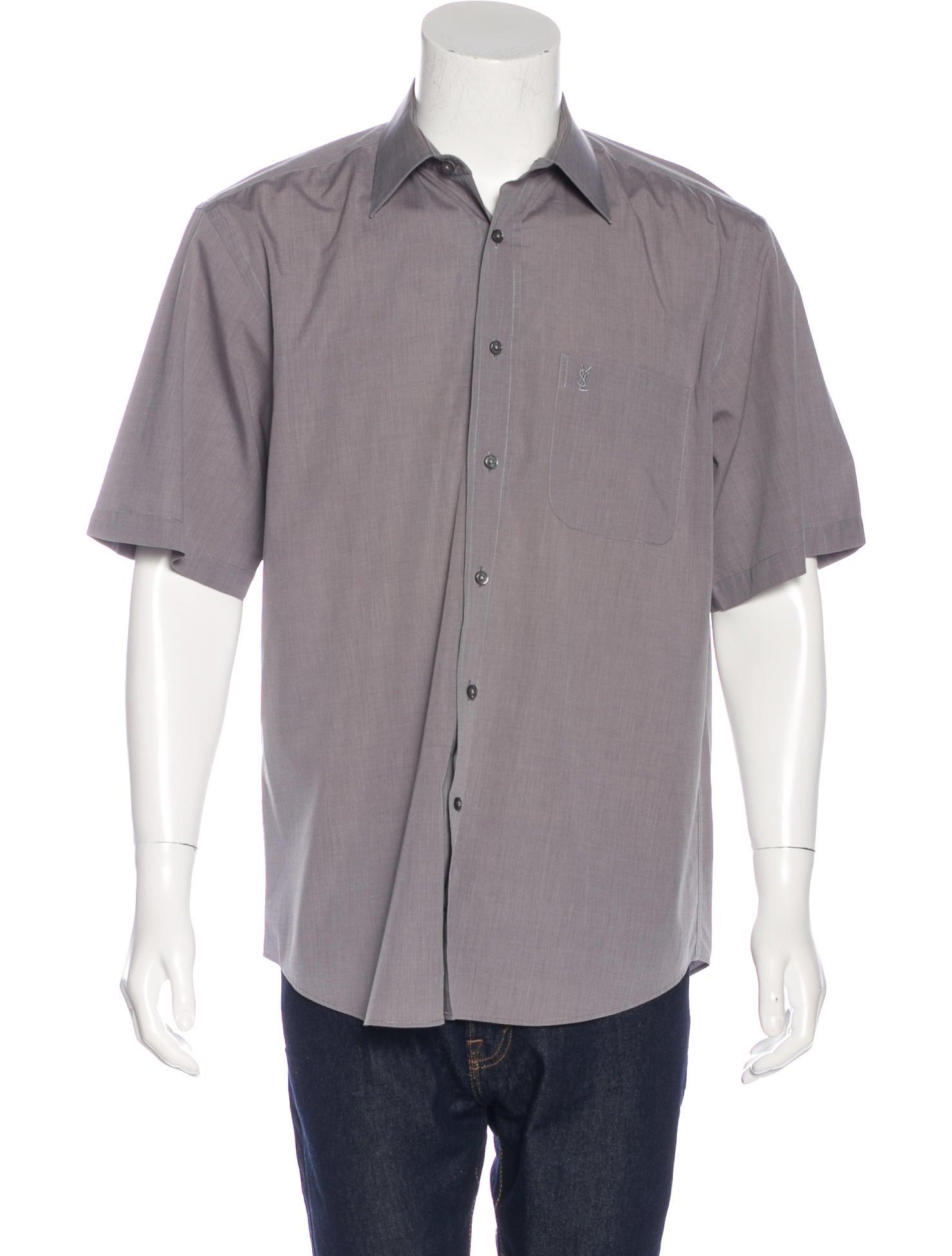 Yves saint laurent woven button up shirt clothing for Yves saint laurent logo shirt