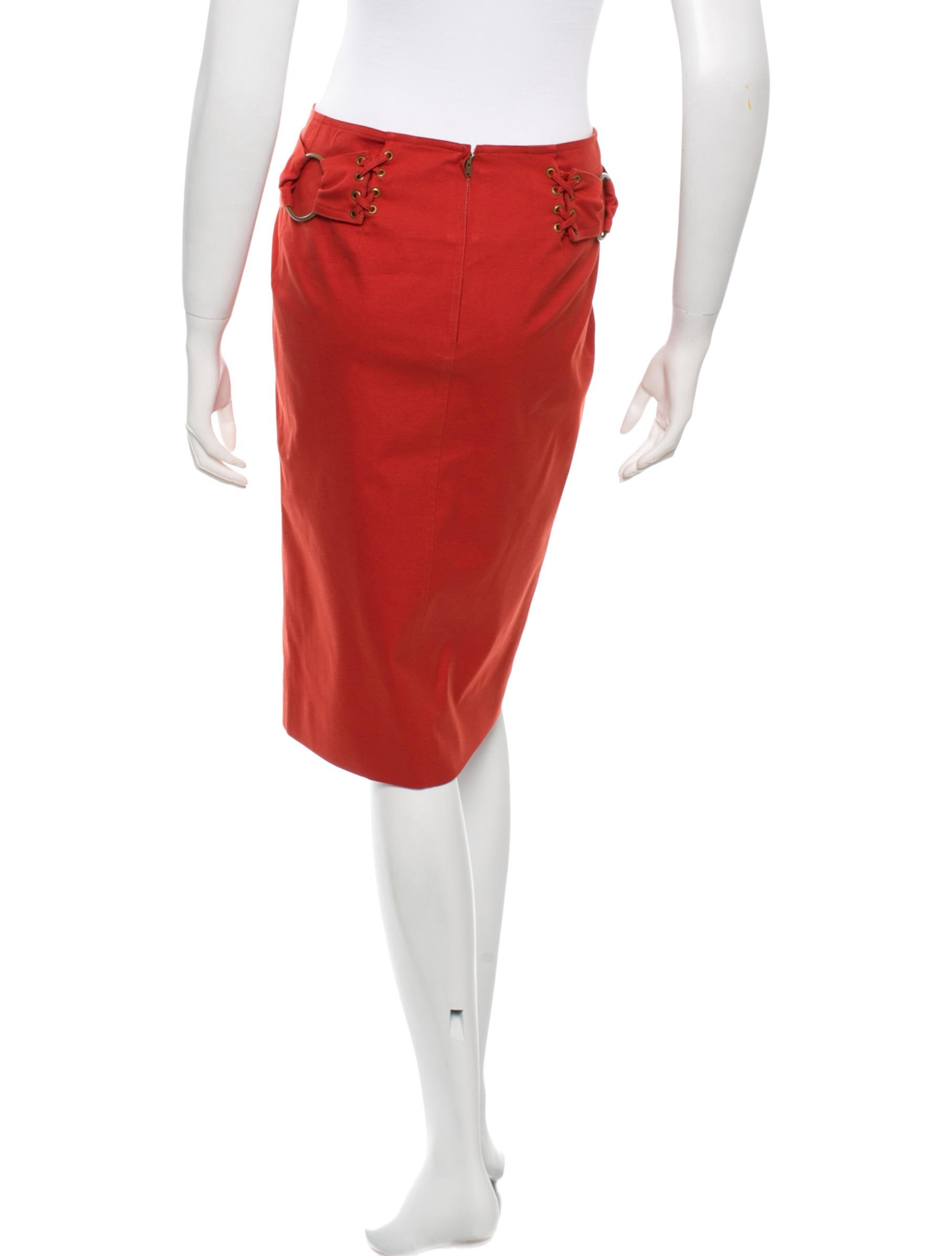 yves laurent lace up pencil skirt clothing