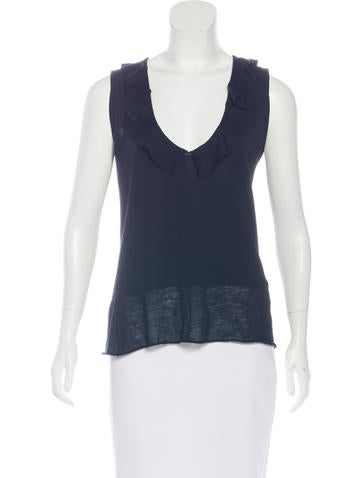 Yves Saint Laurent Sleeveless Ruffle-Trimmed Top None