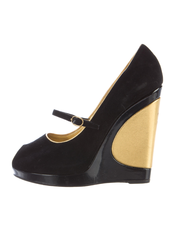 Yves Saint Laurent Suede Peep-Toe Wedges free shipping sneakernews cheap sale cheap 7Jp4qW1