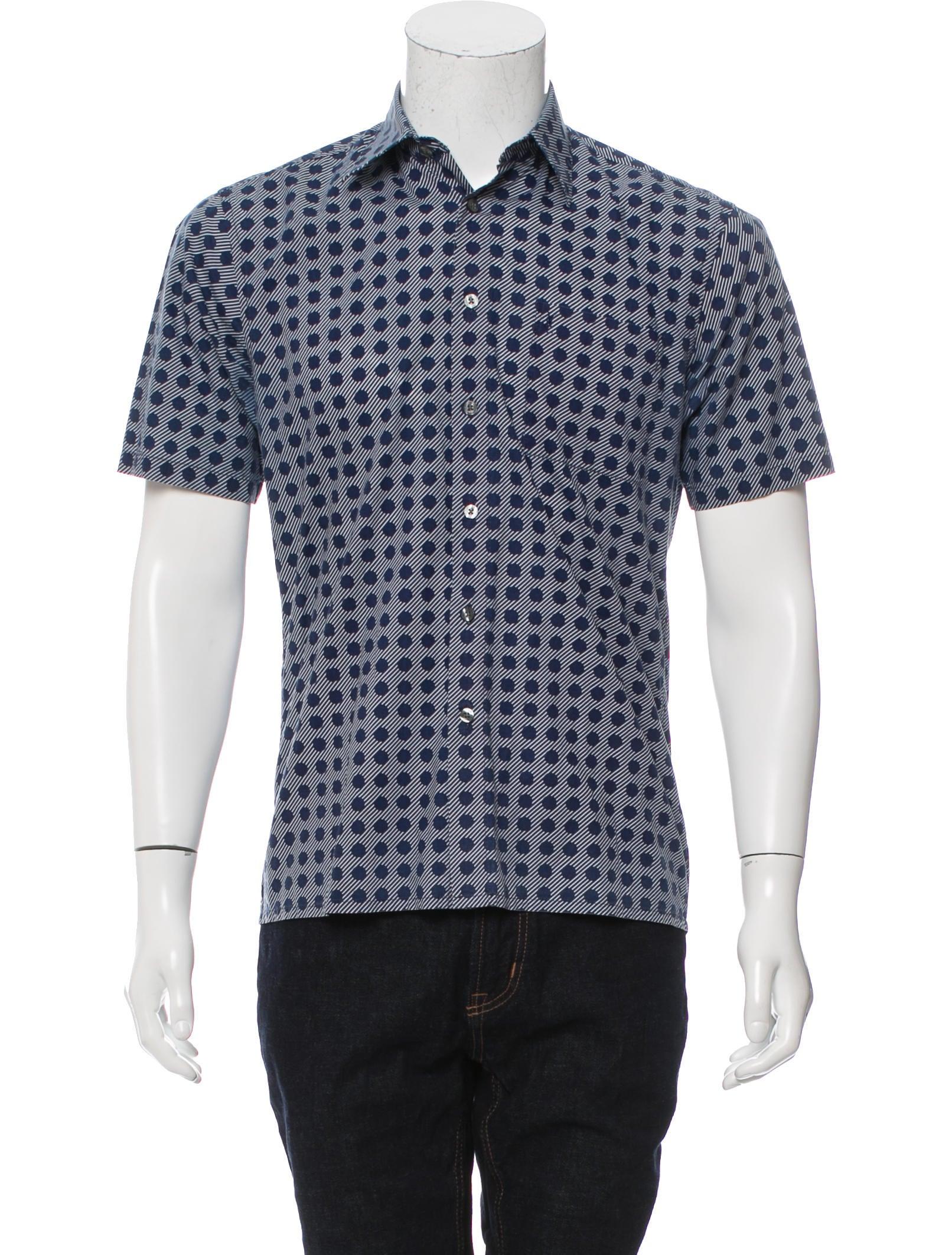 Yves saint laurent printed button up shirt clothing for Yves saint laurent white t shirt