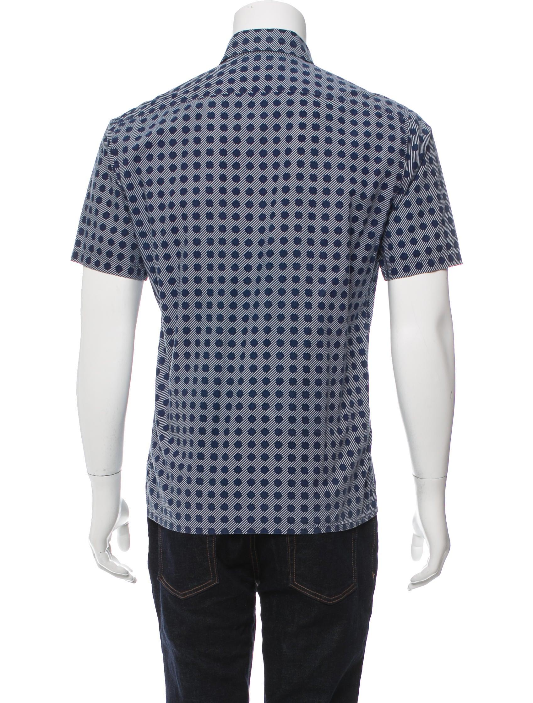 Yves saint laurent printed button up shirt clothing for Yves saint laurent logo shirt