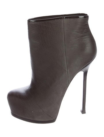 Yves Saint Laurent Embossed Platform Booties None