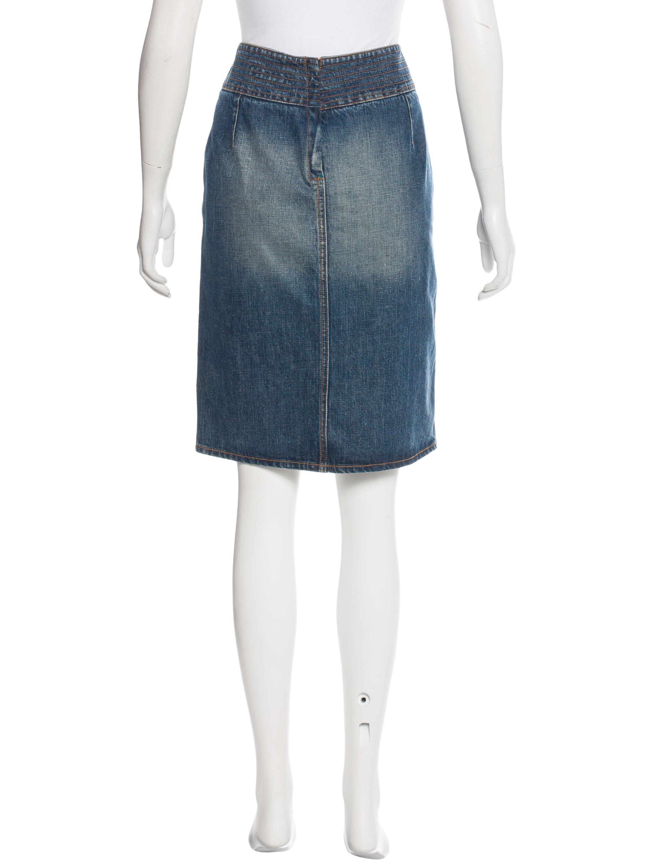yves laurent denim knee length skirt clothing