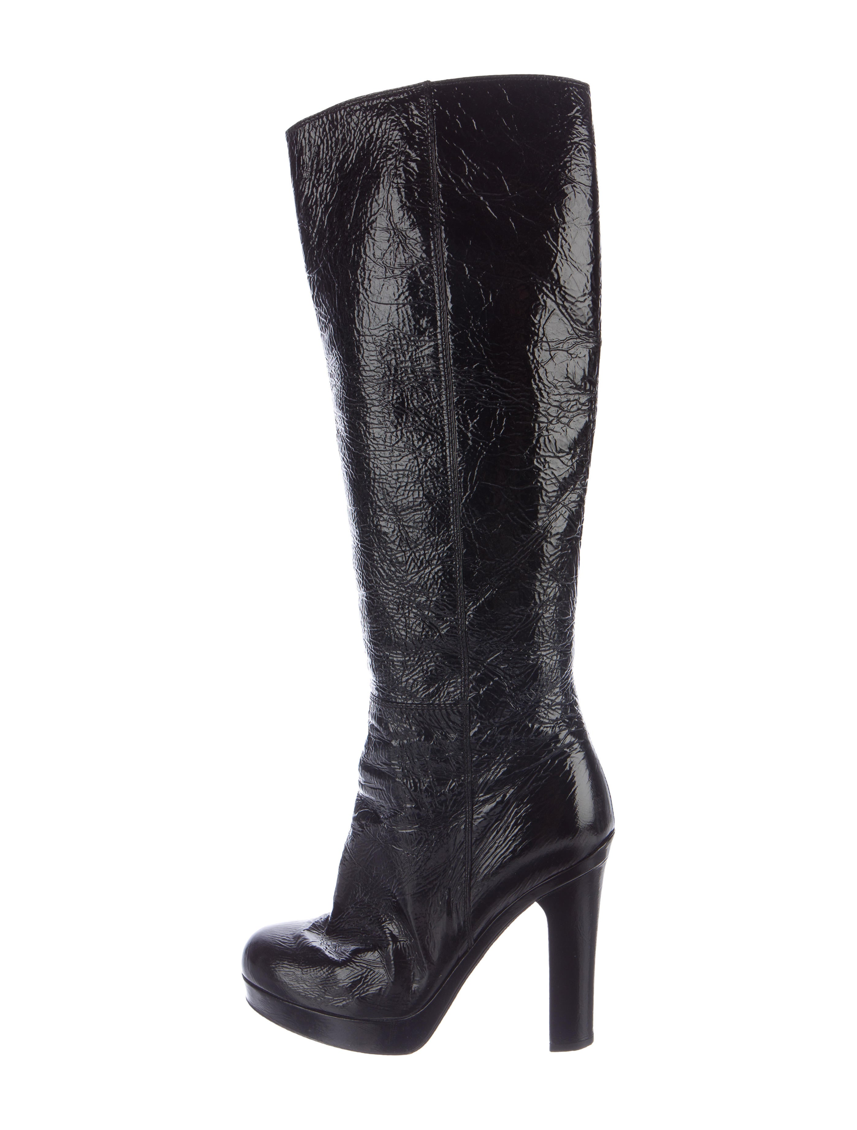 yves laurent patent leather knee high boots shoes
