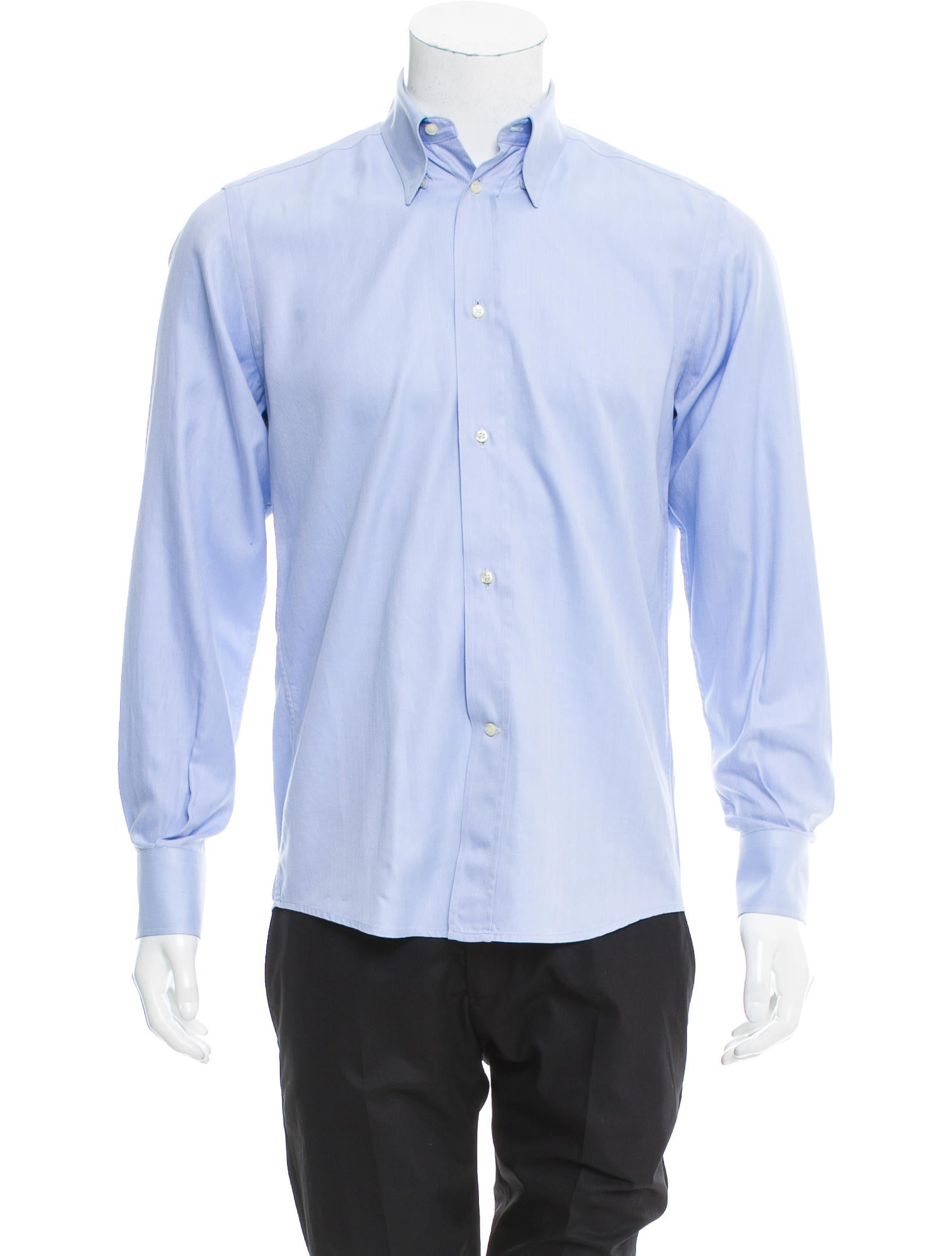 Yves saint laurent herringbone button up shirt clothing for Yves saint laurent logo shirt