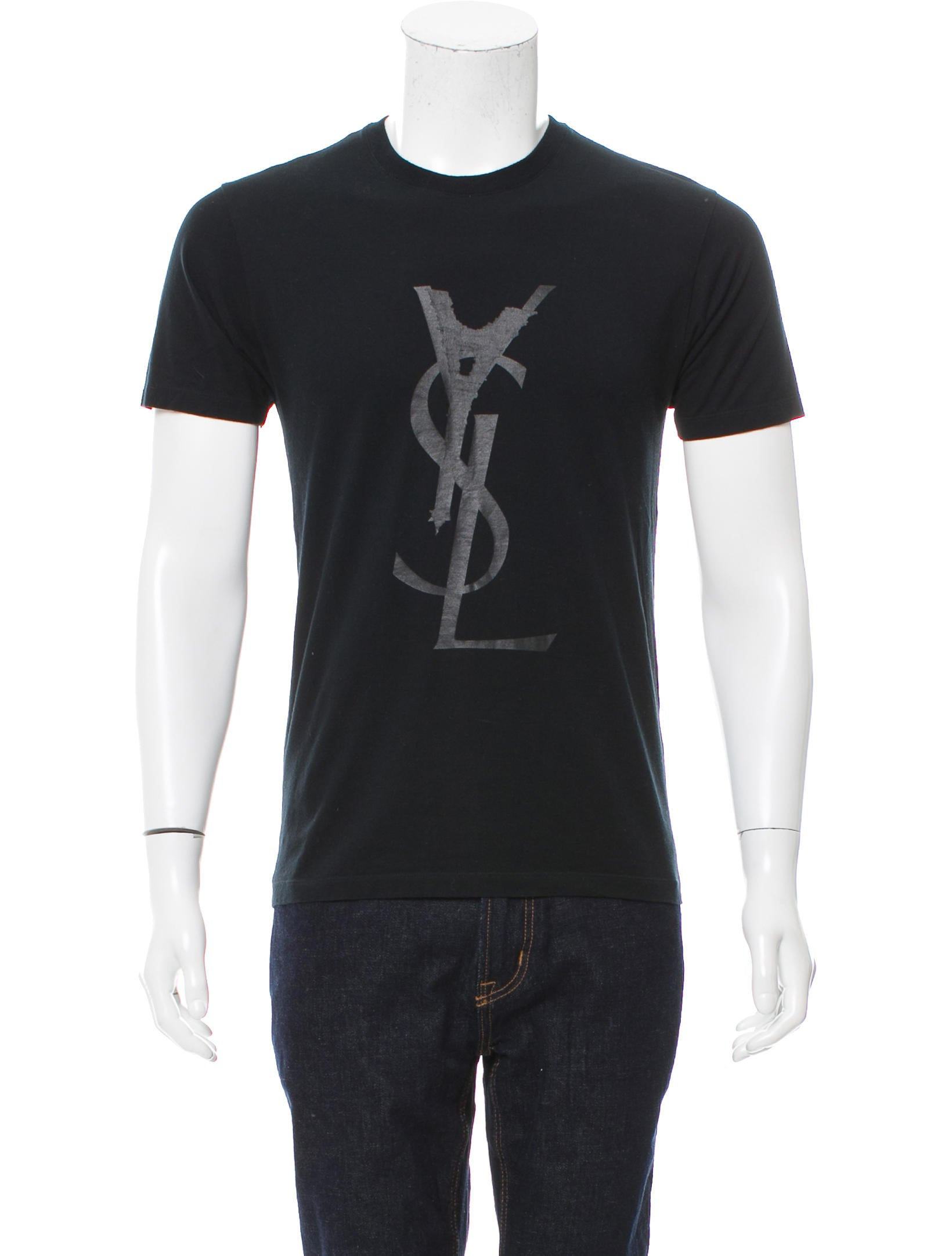 yves saint laurent crew neck logo t shirt clothing yve64393 the realreal. Black Bedroom Furniture Sets. Home Design Ideas