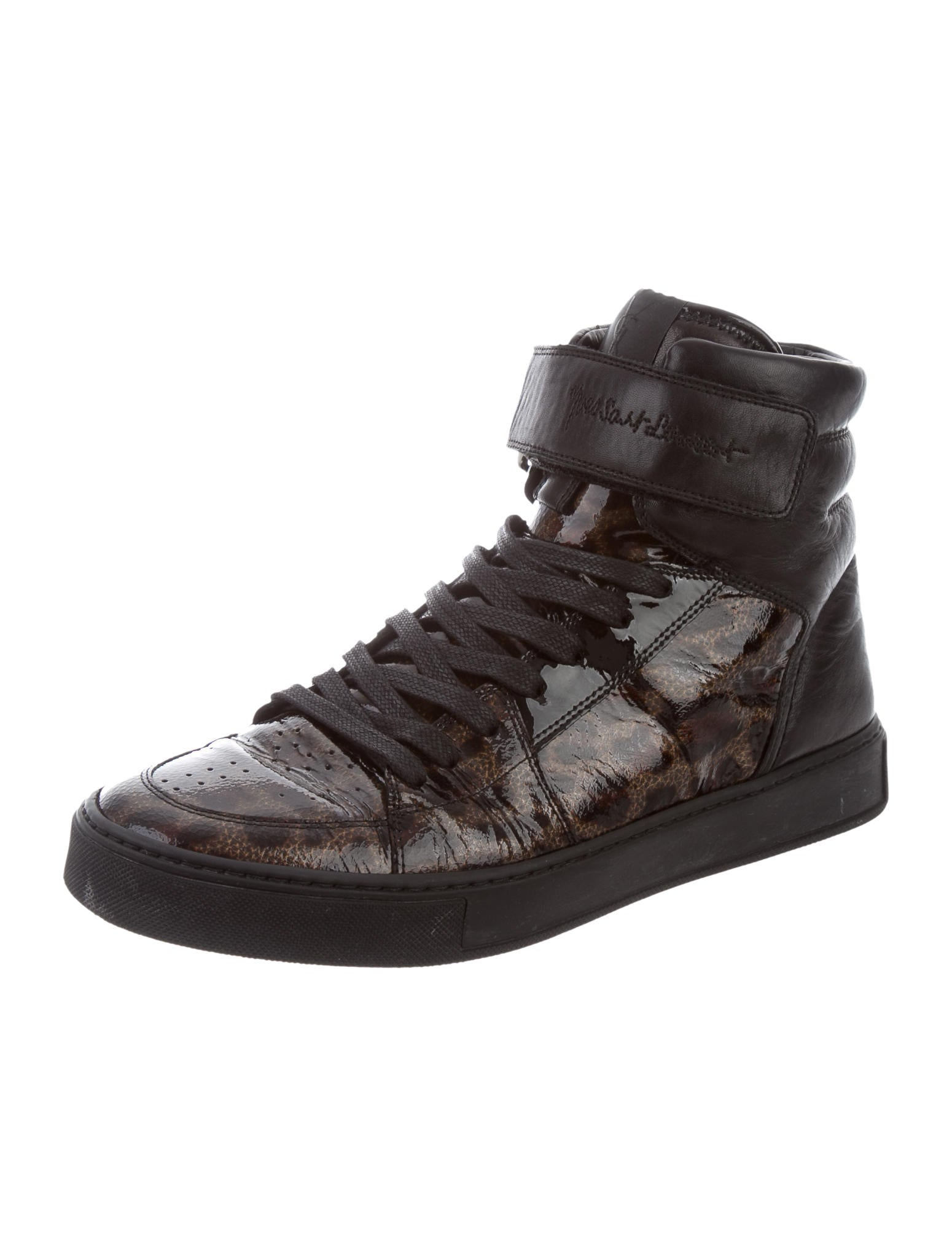 yves saint laurent leather animal print trimmed sneakers shoes yve64416 the realreal. Black Bedroom Furniture Sets. Home Design Ideas