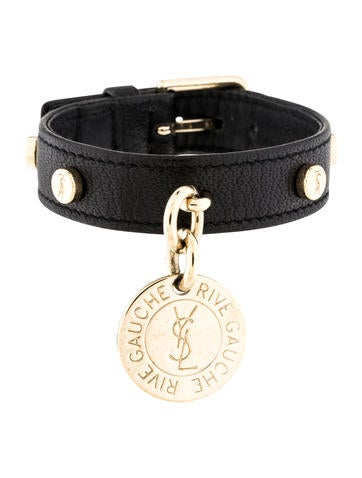 Yves saint laurent leather bracelet bracelets yve64570 the realreal - Bracelet yves saint laurent ...
