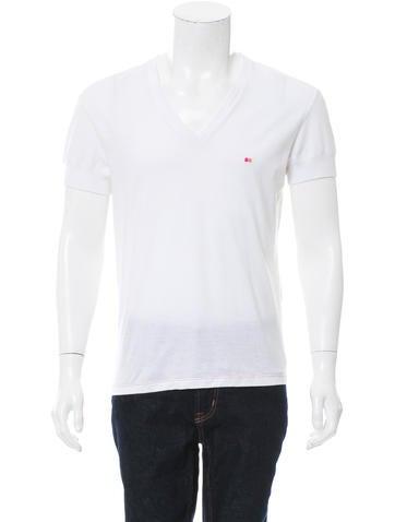 Yves saint laurent embroidered v neck t shirt clothing for Yves saint laurent logo shirt