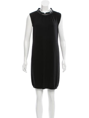 Yves Saint Laurent Wool Leather-Trimmed Dress None