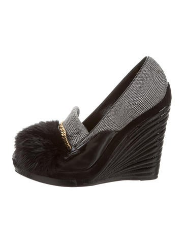 Yves Saint Laurent Fur-Trimmed Patent Leather Wedges None