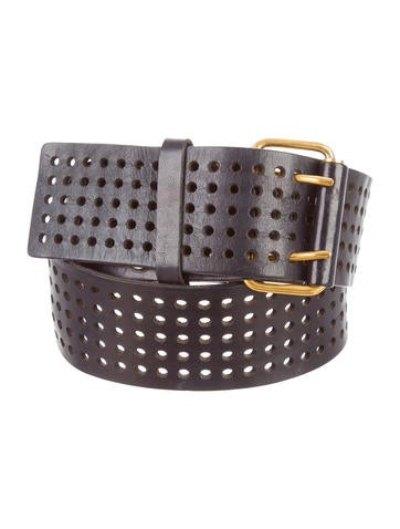yves laurent perforated leather belt accessories
