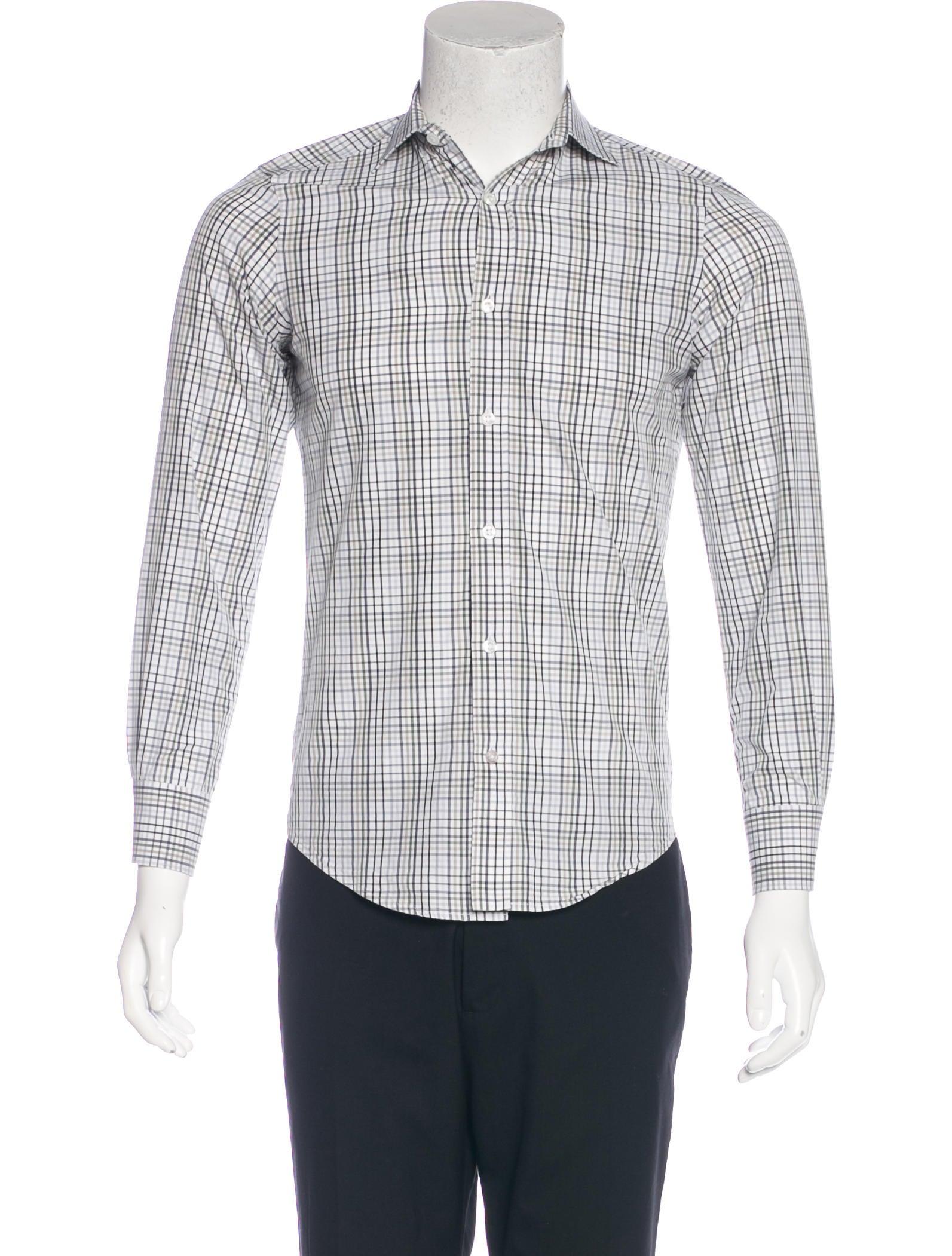 Yves saint laurent plaid button up shirt clothing for Yves saint laurent white t shirt