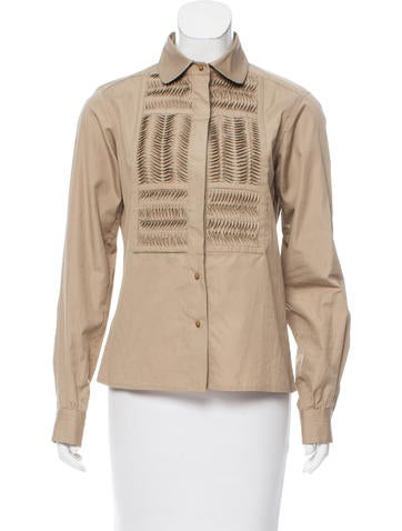 Yves Saint Laurent Pleated Button-Up Top None