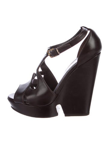 Yves Saint Laurent Leather Cut-Out Wedges None
