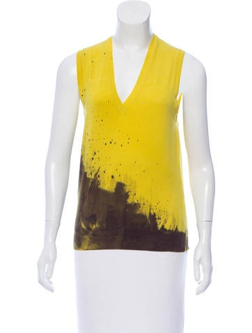 Yves Saint Laurent Sleeveless Wool Patterned Top None