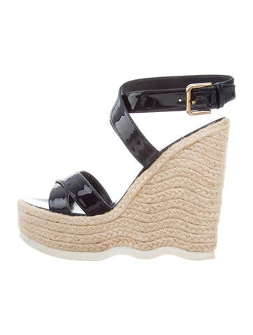 Yves Saint Laurent Crossover Espadrille Wedges None
