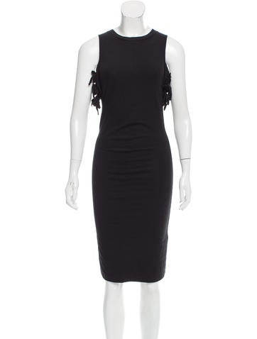 Yves Saint Laurent Bow-Accented Cold Shoulder Dress None