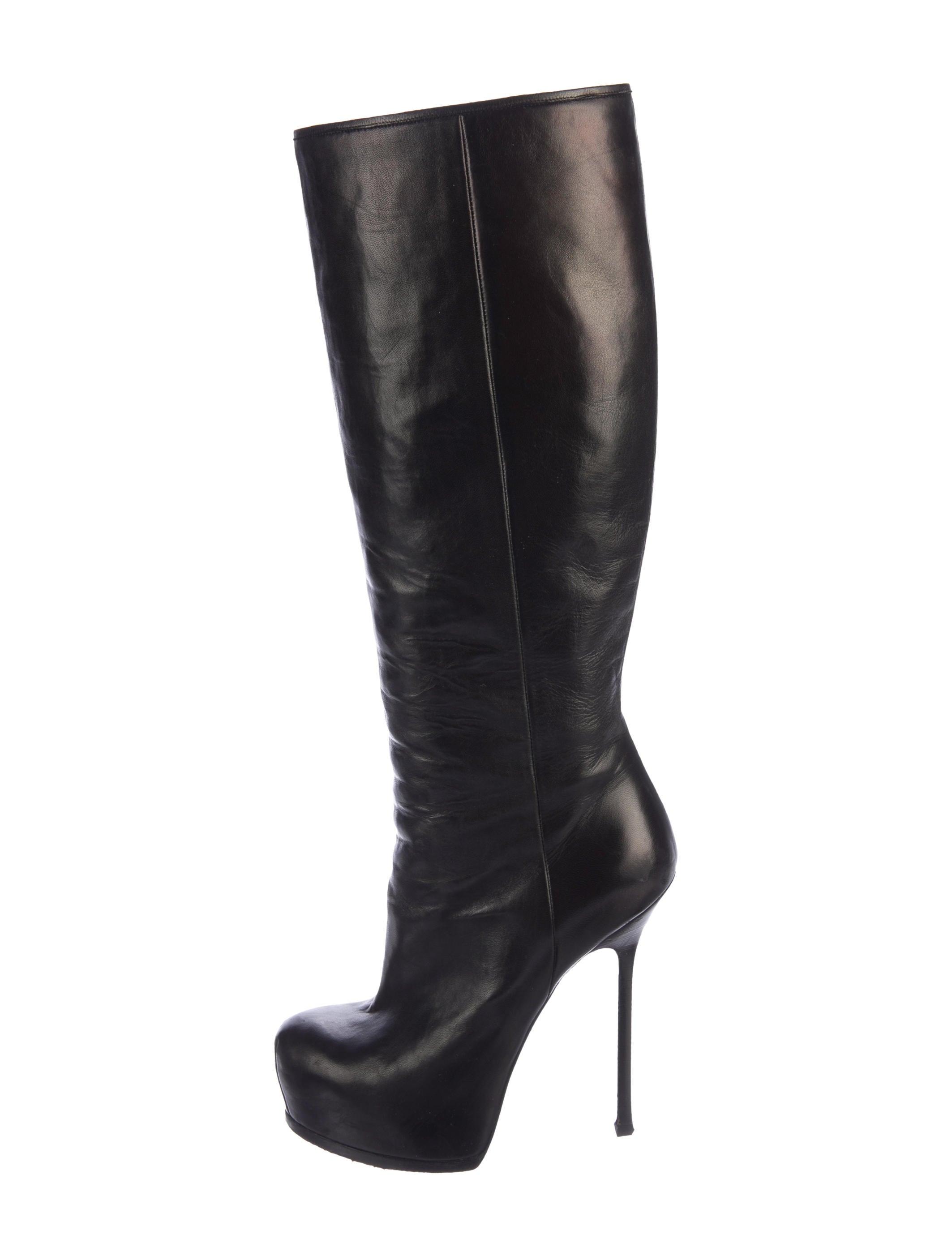 yves laurent leather platform boots shoes