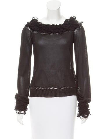 Yves Saint Laurent Off-The-Shoulder Long Sleeve Top None