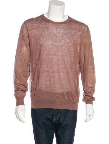 Yves Saint Laurent Satin-Trimmed Linen Sweater None