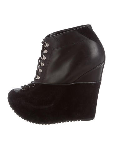 Yves Saint Laurent Lace-Up Wedge Ankle Boots None