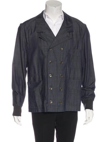 Yves Saint Laurent Double-Breasted Chambray Jacket None