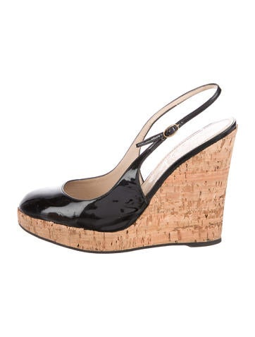 Yves Saint Laurent Patent Leather Slingback Wedges None