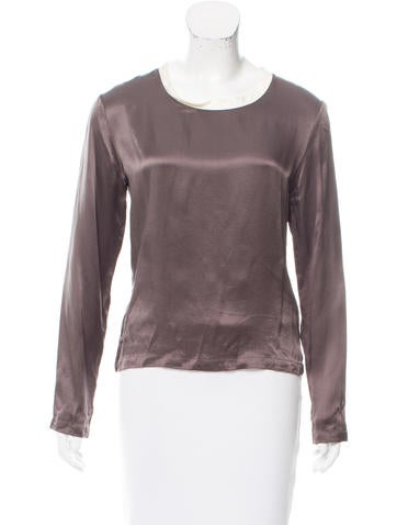 Yves Saint Laurent Silk Contrast-Trimmed Top None