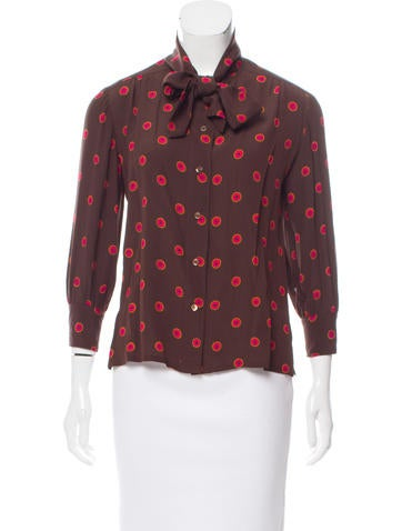 Yves Saint Laurent Tie-Accented Printed Top None