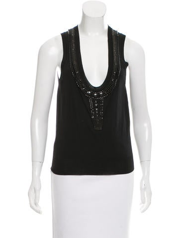 Yves Saint Laurent Embellished Wool Top None