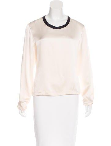 Yves Saint Laurent Silk Long Sleeve Top None