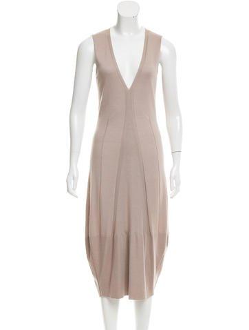 Yves Saint Laurent Silk & Cashmere-Blend Midi Dress w/ Tags None