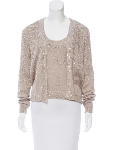 Yves Saint Laurent Sequin-Embellished Knit Cardigan Set None