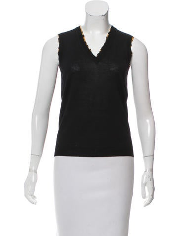 Yves Saint Laurent Silk-Trimmed Virgin Wool Top None