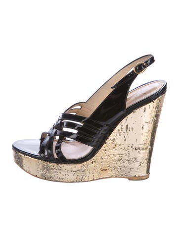 Yves Saint Laurent Patent Leather Wedge Sandals None
