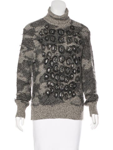 Yves Saint Laurent Embellished Cashmere-Wool Blend Sweater None
