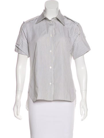 Yves Saint Laurent Stripe Button-Up Top None