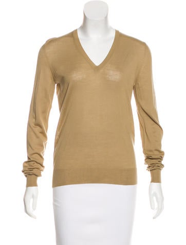 Yves Saint Laurent Virgin Wool V-Neck Sweater w/ Tags None