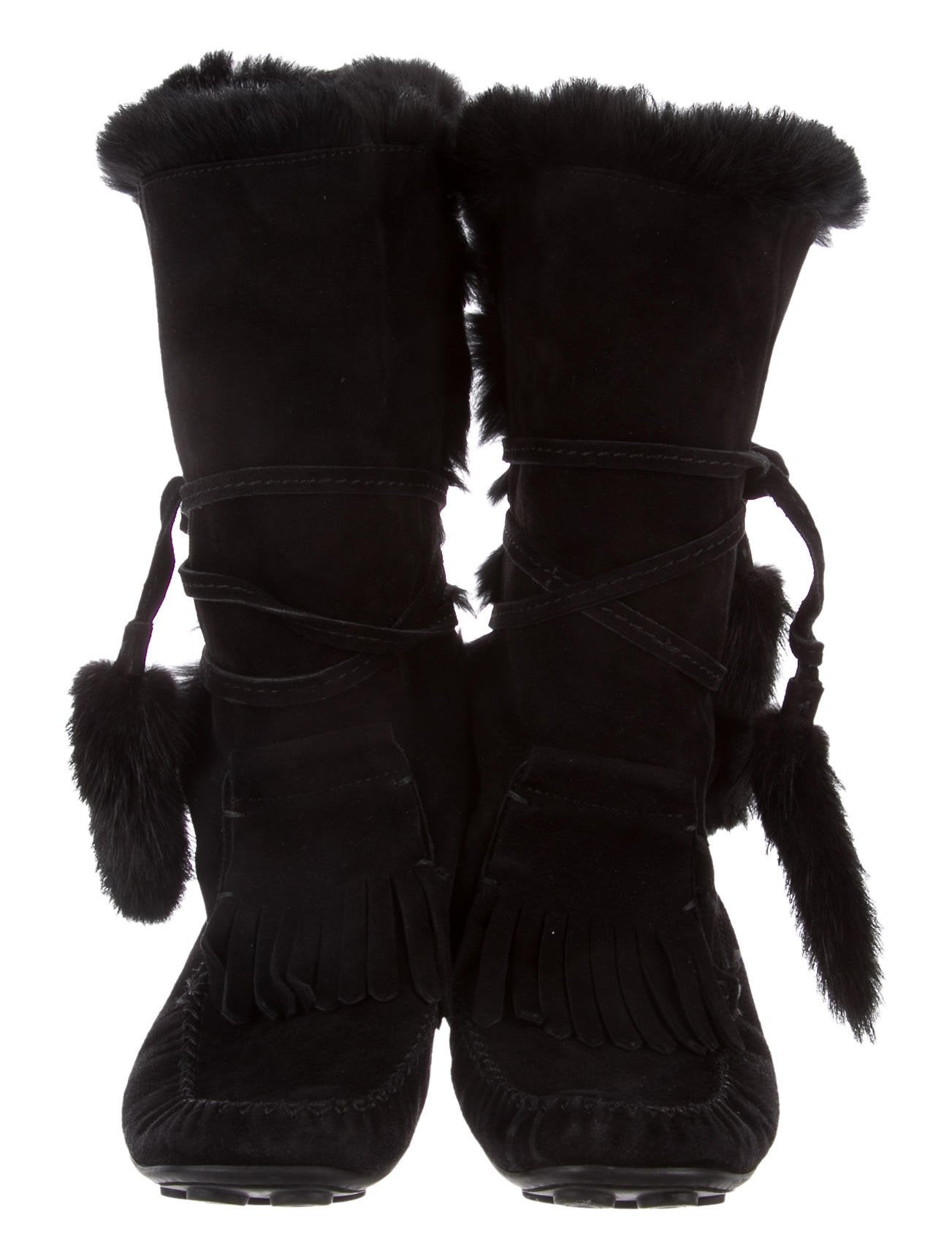 outlet best wholesale view for sale Yves Saint Laurent Fur-Lined Moccasin Boots real for sale XzNgIey