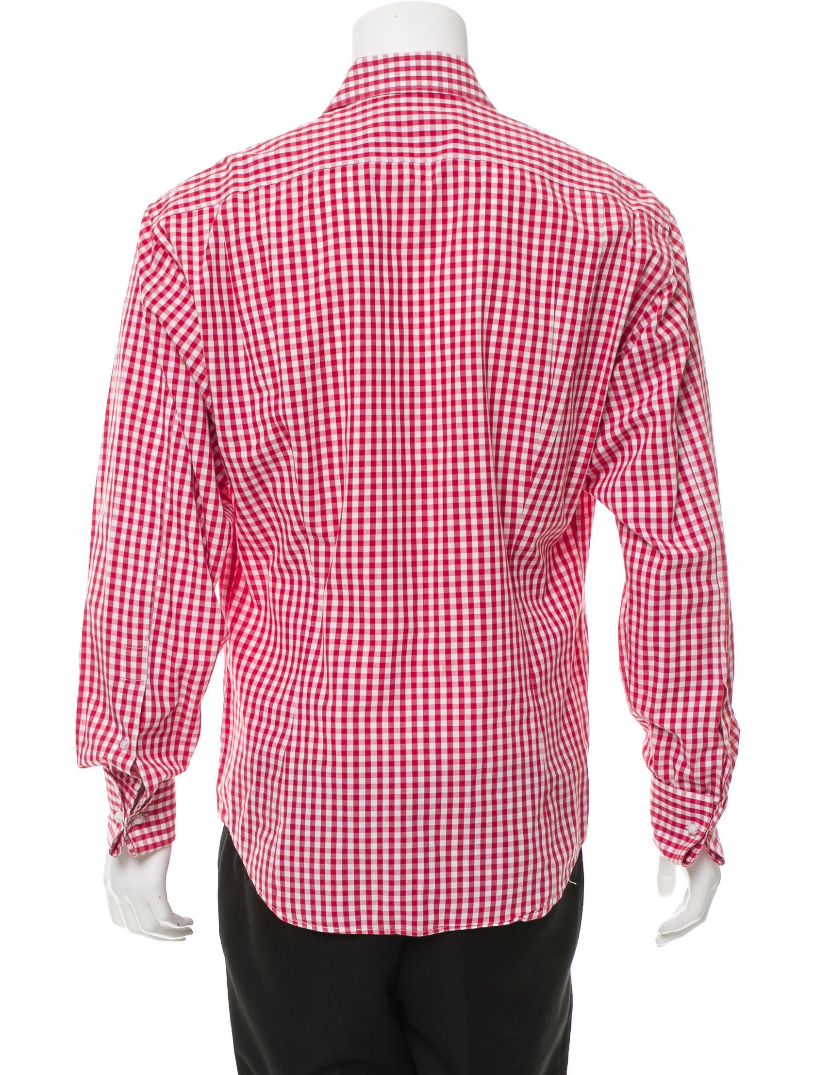 Yves Saint Laurent French Cuff Gingham Shirt Clothing