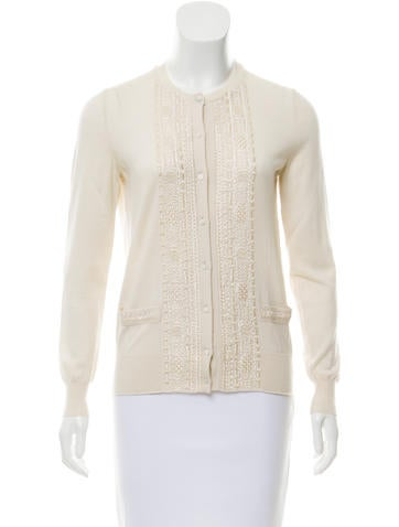 Yves Saint Laurent Embroidered Wool Cardigan None