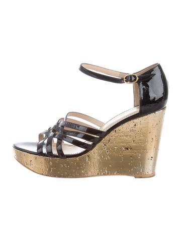 Yves Saint Laurent Crossover Wedge Sandals None