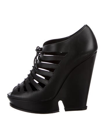 Yves Saint Laurent Leather Lace-Up Wedges None