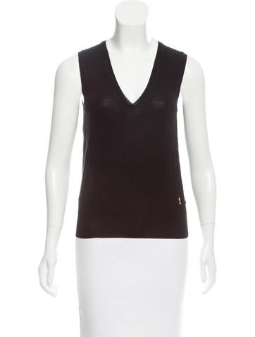 Yves Saint Laurent Sleeveless Wool Top None
