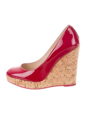 Yves Saint Laurent Patent Leather Platform Wedges None