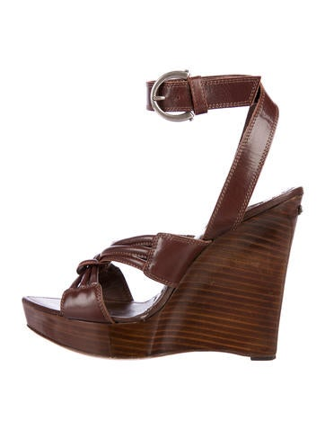 Yves Saint Laurent Leather Multistrap Wedges None