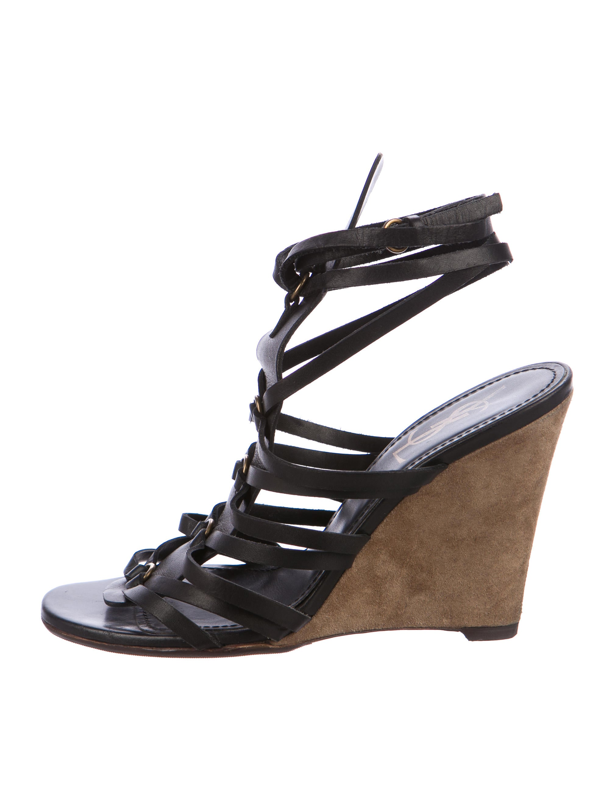 Yves Saint Laurent Leather Caged Wedges - Shoes - YVE72756  020d6d6ad9