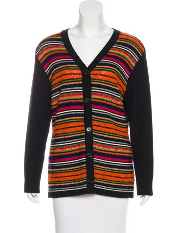 Yves Saint Laurent Wool Striped Cardigan None